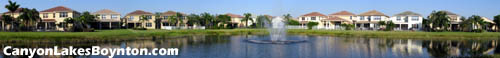 Gorgeous lake views abound from behind the homes in Canyon Lakes in Boynton Beach, Florida.